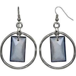 Bay Studio Blue Glass Hoop Drop Earrings