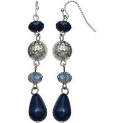 Bay Studio Blue Bead Linear Dangle Earrings