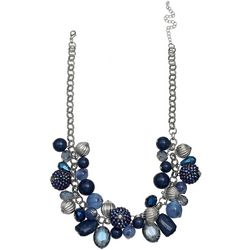 Bay Studio Blue Multi Beaded Shaky Front Necklace