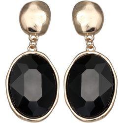 Bay Studio Black Multi-Faceted Oval Stone Earrings