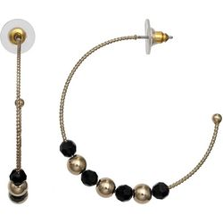 Bay Studio Black & Gold Tone Beaded Hoop Earrings