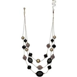 Bay Studio 3 Row Glitter & Black Beaded Necklace