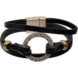 Bay Studio Pave Rhinestone Ring Leather Strap Bracelet