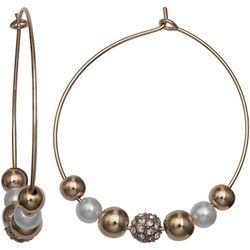 Bay Studio Faux Pearls & Sliding Beads Hoop Earrings