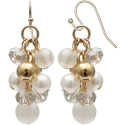 Bay Studio Faux Pearl & Gold Ball Bead Cluster Earrings