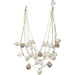 Bay Studio 5 Row Faux Pearl & Pave Rhinestone Bead Necklace