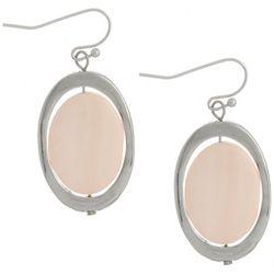 Bay Studio Silver Tone & Coral Oval Dangle Earrings