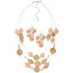 Bay Studio Coral & Tan Triple Row Wire Necklace Set