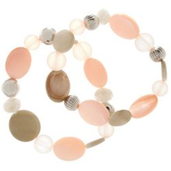 Bay Studio Pink & Tan Beaded Stretch Bracelet Set
