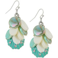 Bay Studio Turquoise Blue Cluster Shell Drop Earrings