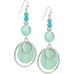 Bay Studio Blue Discs Beads Silver Tone Ring Earrings