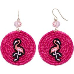 Pink Flamingo Seed Bead Disc Earrings