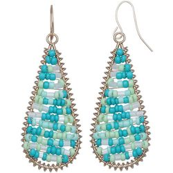 Bay Studio Seed Bead Long Teardrop Earrings