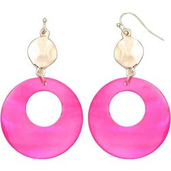 Pink Shell Hoop Drop Earrings