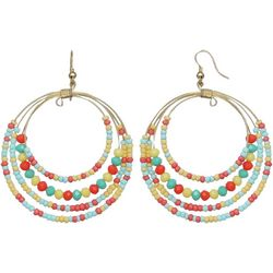 Seed Bead Multi Ring Drop Earrings