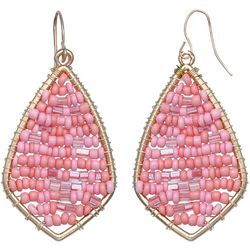 Pink Seed Bead Earrings