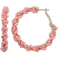 Coral Pink Seed Bead Gold Tone Hoop Earrings
