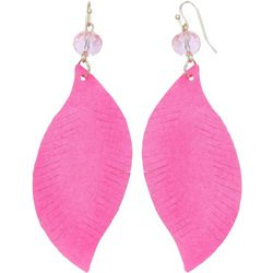 Bay Studio Pink Suede Leaf Shape Earrings