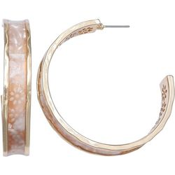 Bay Studio Flower Gold Tone Hoop Earrings