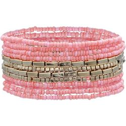 Bay Studio 12 Row Pink Beaded Stretch Bracelet