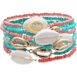 Bay Studio Multi Row Beaded & Shell Stretch Bracelet