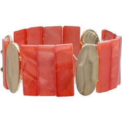 Bay Studio Gold Tone & Coral Pink Shell Bar Bracelet