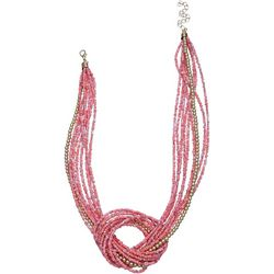 Bay Studio Multi Row Pink Seed Bead Knot Necklace
