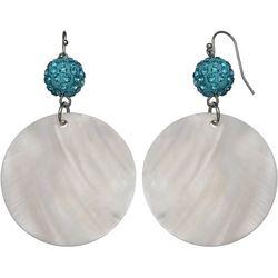 Bay Studio Blue Pave Ball & Shell Disc Earrings