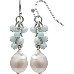 Bay Studio Aqua Blue Cluster Freshwater Pearl Drop Earrings