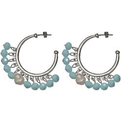 Bay Studio Aqua Blue Shaky Bead C Hoop Earrings