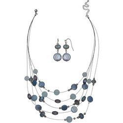 Bay Studio 5 Row Blue Shell & Beaded Necklace Set