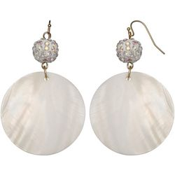 Bay Studio White Pave Ball Shell Disc Drop Earrings