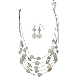 Bay Studio 5 Row White Shell & Beaded Necklace Set