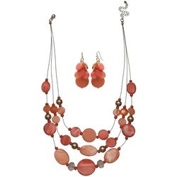 Bay Studio Pink & Gold Tone Three Row Necklace Set