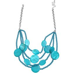 Bay Studio 4 Row Aqua Shell & Bead Necklace