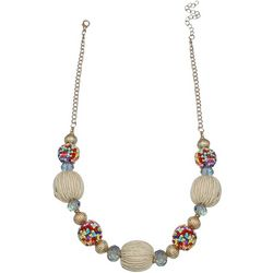Bay Studio Large Raffia Bead Frontal Necklace