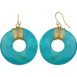 Bay Studio Aqua Shell Donut Drop Earrings