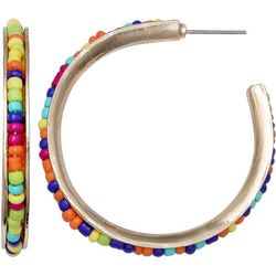 Inlaid Seedbead Hoop Earrings