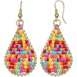Seedbead Woven Teardrop Earrings