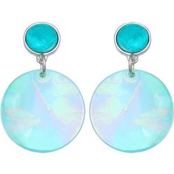 Bay Studio Dyed Aqua Shell Disc Drop Earrings