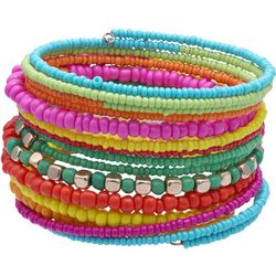 Multi Beaded Multi Row Coil Bracelet