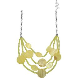 Bay Studio 4 Row Yellow Bead & Shell Disc Necklace