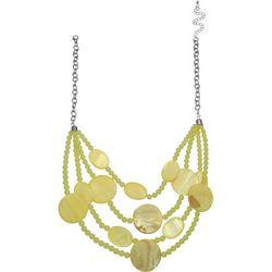 Bay Studio 4 Row Yellow Bead & Shell Disc Necklace