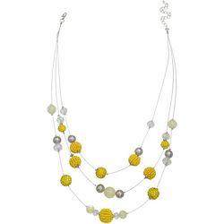 Bay Studio Yellow 3 Row Bead Illusion Necklace
