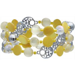 Bay Studio 3 Row Yellow Bead & Shell Bracelet Set