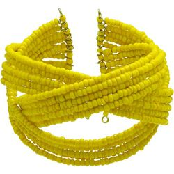 Bay Studio Yellow Seedbead Braided Cuff Bracelet