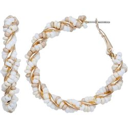 Bay Studio White Seedbead Wrapped Hoop Earrings