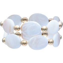 Bay Studio 2 Pc White Shell Stretch Bracelet Set