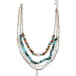 Bay Studio Layered 4 Row Bead Shell Pearl Necklace