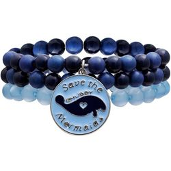 Chubby Mermaids Manatee Charm Blue Beaded Bracelet Set